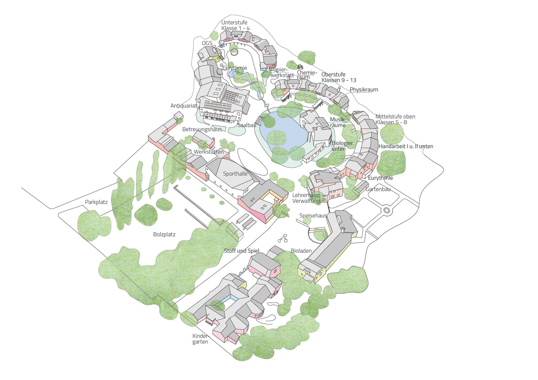 Lageplan der Waldorfschule Düsseldorf